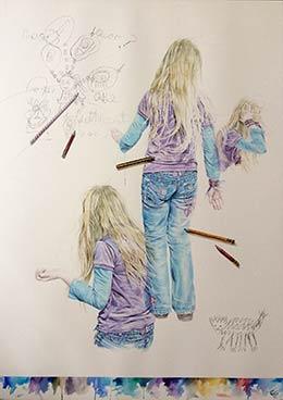 The Question', watercolour & pencil, 116cm x 86cm